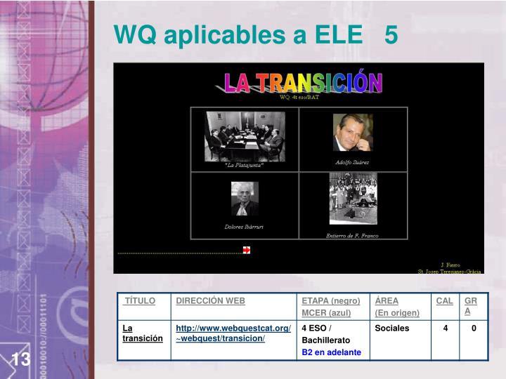WQ aplicables a ELE   5