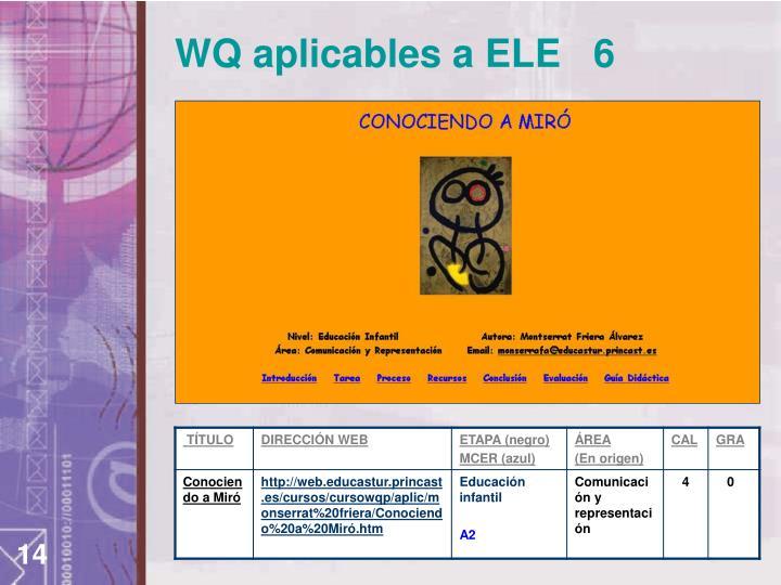 WQ aplicables a ELE   6