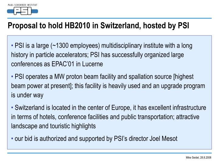 Proposal to hold HB2010 in Switzerland, hosted by PSI