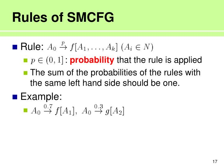 Rules of SMCFG