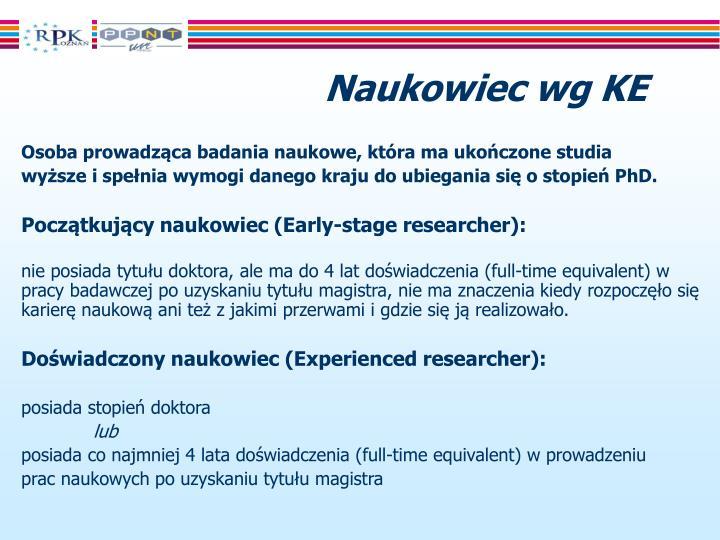 Naukowiec wg KE
