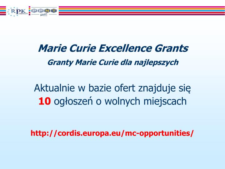 Marie Curie Excellence Grants