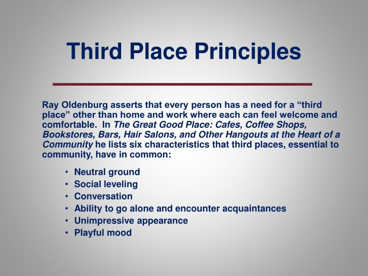 Third Place Principles