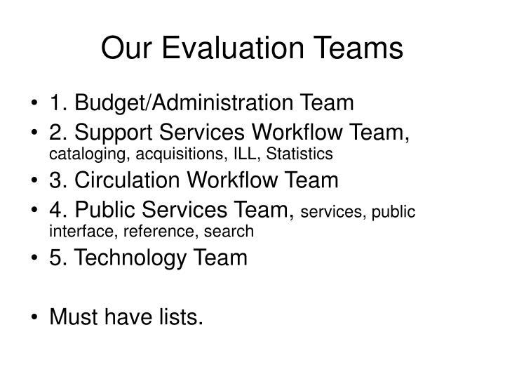 Our Evaluation Teams
