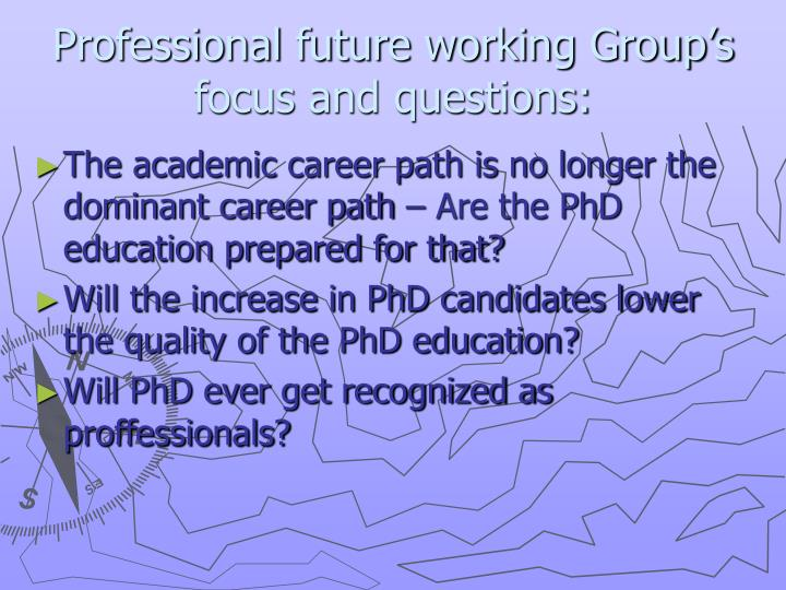 Professional future working Group's focus and questions: