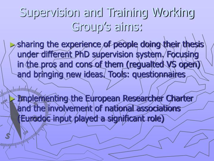 Supervision and Training Working Group's aims: