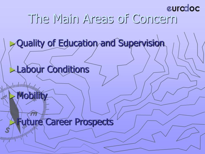 The Main Areas of Concern
