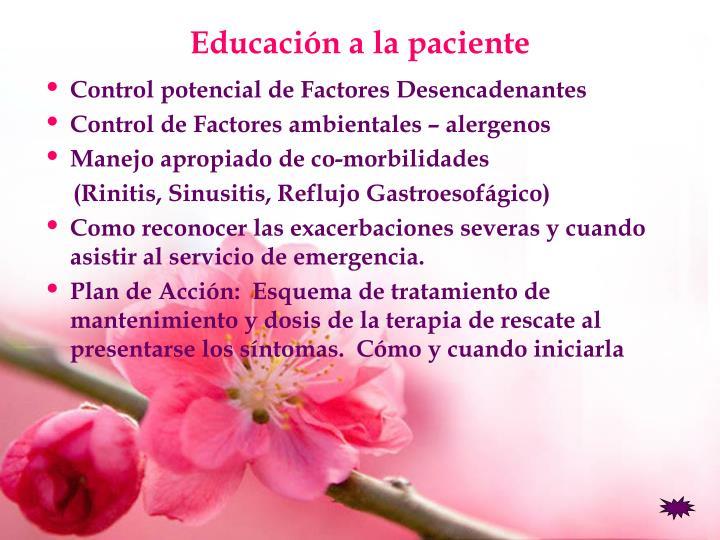 Educación a la paciente