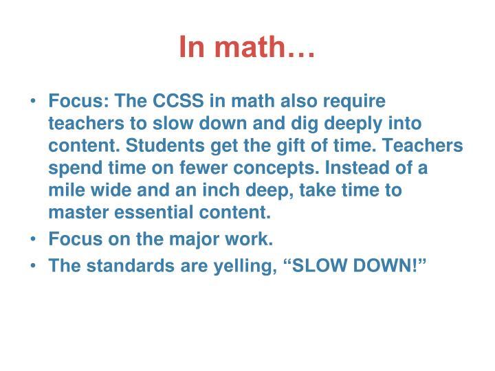 In math…
