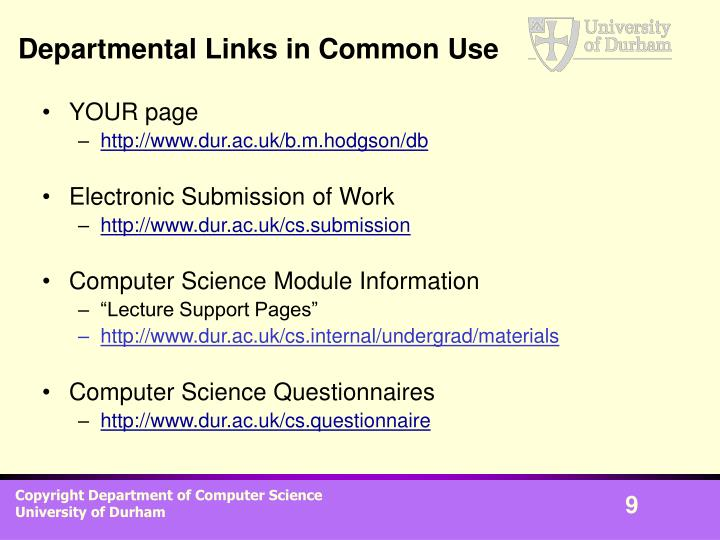 Departmental Links in Common Use