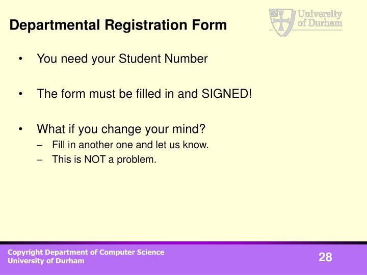 Departmental Registration Form