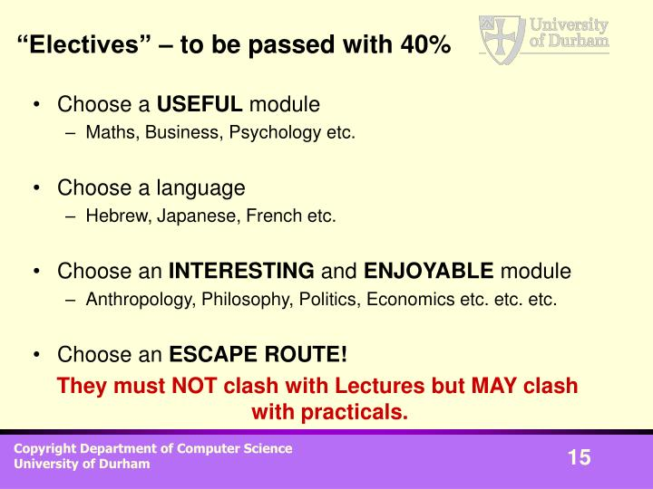 """""""Electives"""" – to be passed with 40%"""