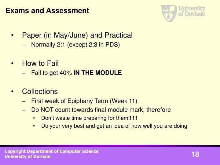 Exams and Assessment