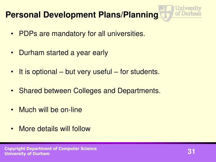 Personal Development Plans/Planning