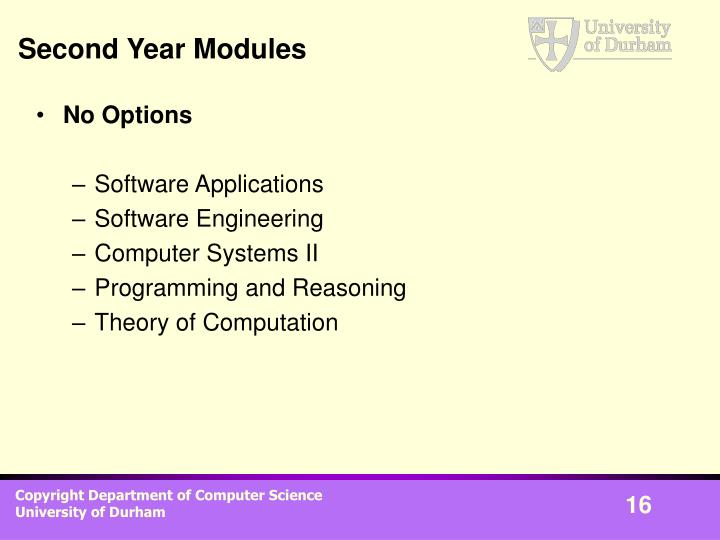Second Year Modules