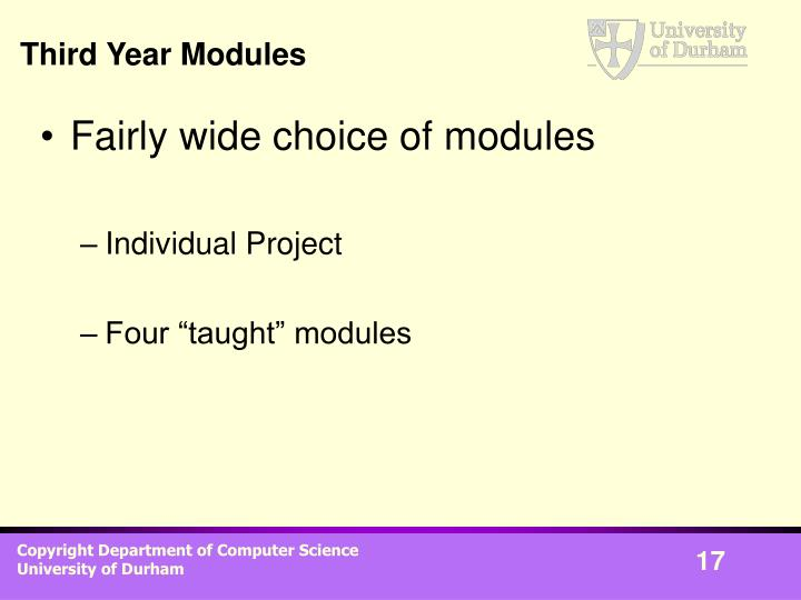 Third Year Modules