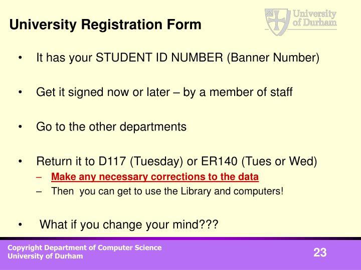 University Registration Form