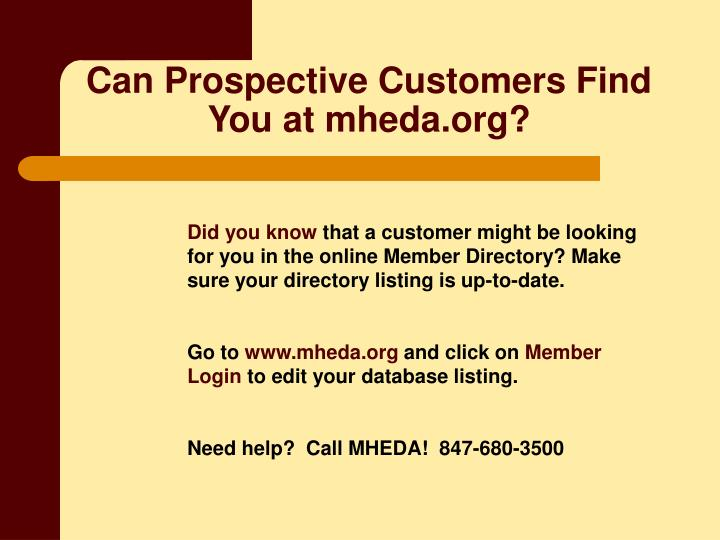 Can Prospective Customers Find You at mheda.org?