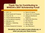 thank you for contributing to mheda s 2007 scholarship fund
