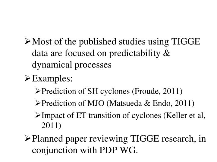 Most of the published studies using TIGGE data are focused on predictability & dynamical processes