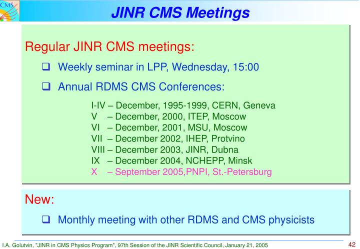 JINR CMS Meetings