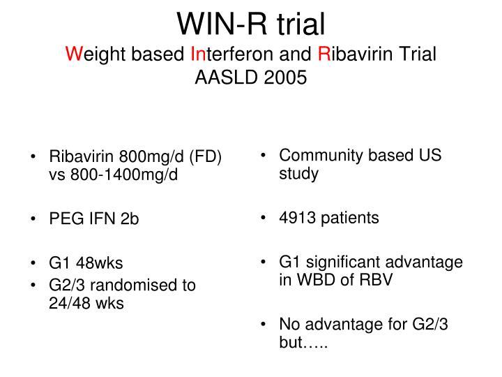 Ribavirin 800mg/d (FD) vs 800-1400mg/d