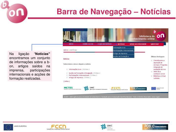 Barra de Navegação – Notícias