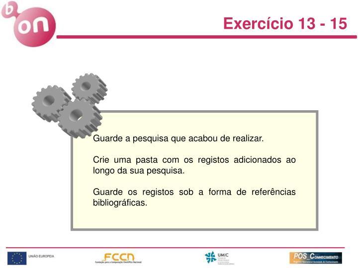 Exercício 13 - 15