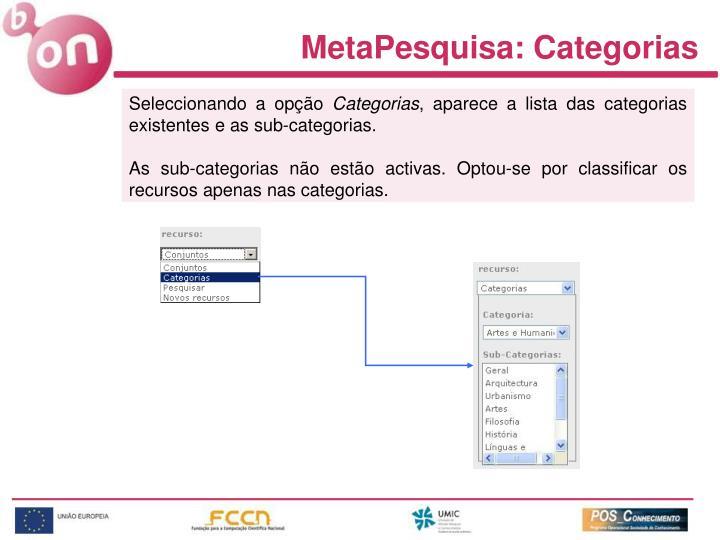 MetaPesquisa: Categorias