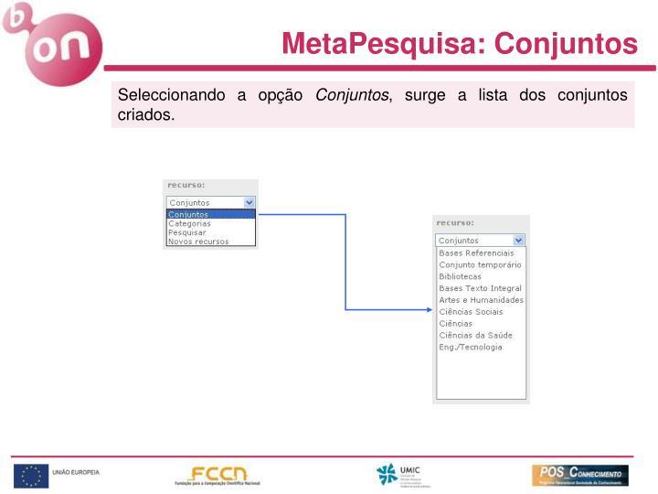 MetaPesquisa: Conjuntos