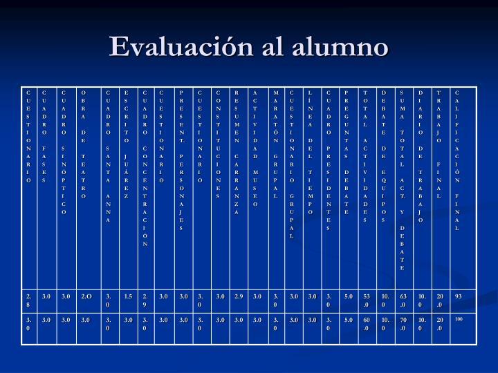 Evaluación al alumno