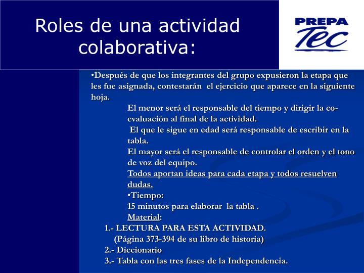 Roles de una actividad colaborativa: