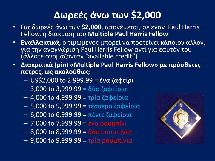 Δωρεές άνω των $2,000