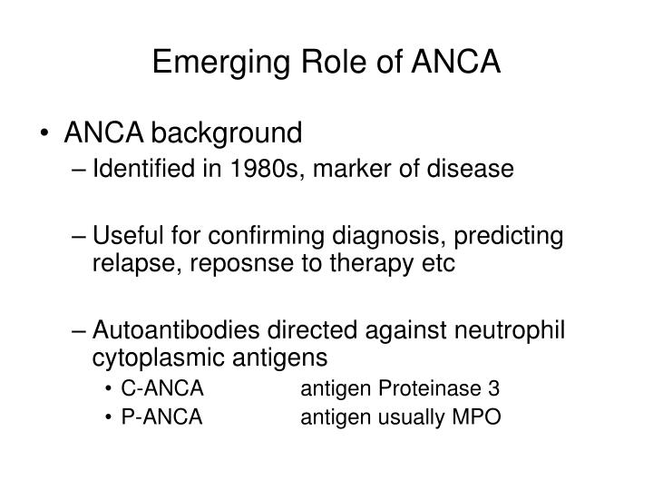 Emerging Role of ANCA