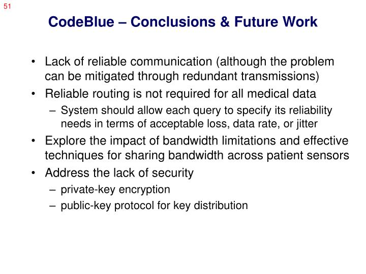 CodeBlue – Conclusions & Future Work
