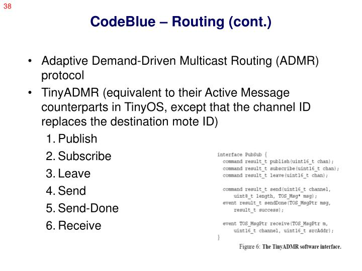 CodeBlue – Routing (cont.)