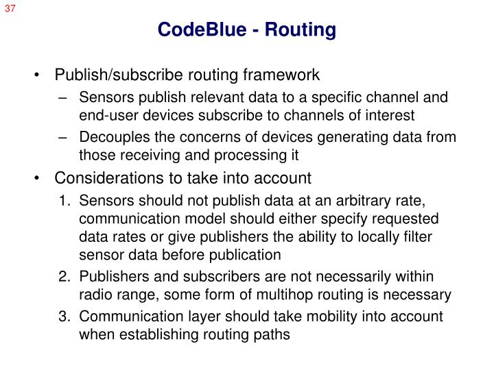 CodeBlue - Routing