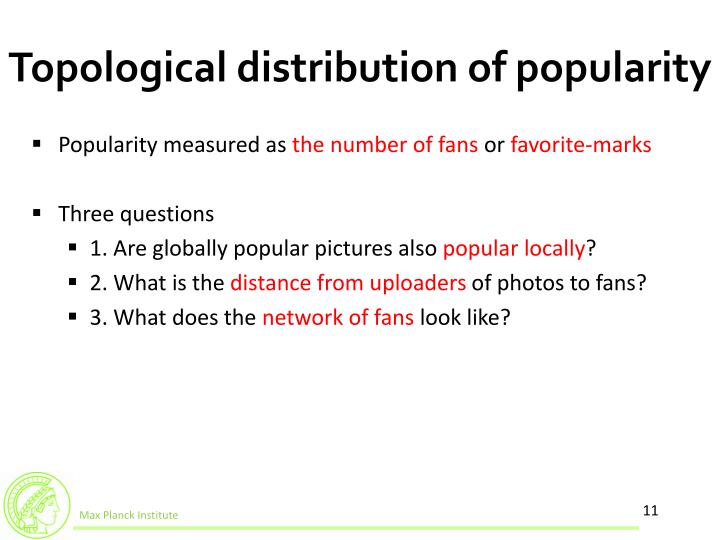 Topological distribution of popularity