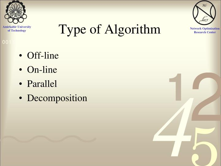 Type of Algorithm