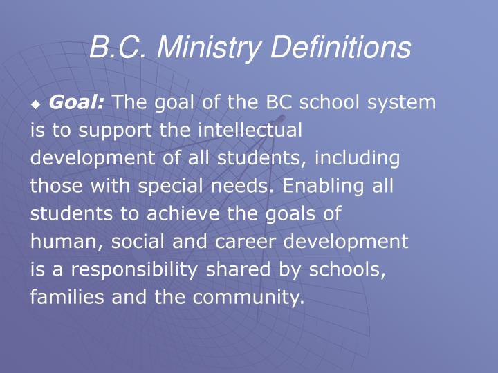 B.C. Ministry Definitions