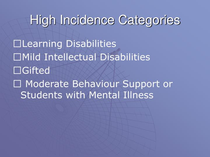 High Incidence Categories
