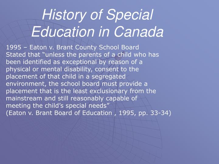 History of Special Education in Canada