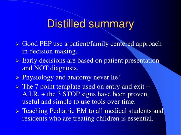 Distilled summary