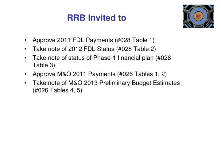 RRB Invited to
