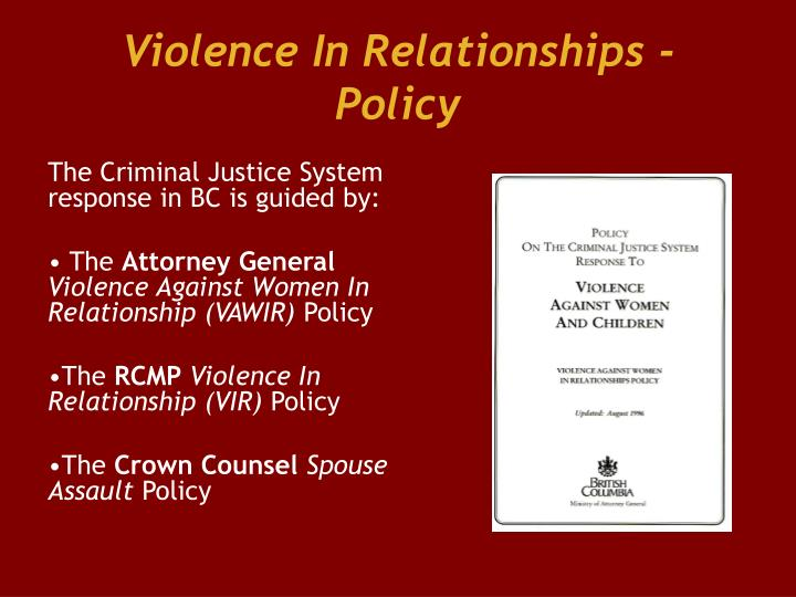 Violence In Relationships - Policy