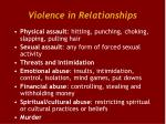 violence in relationships