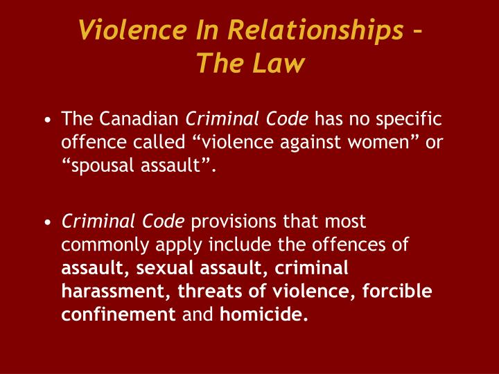Violence In Relationships –