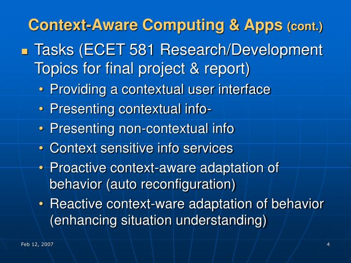 Context-Aware Computing & Apps