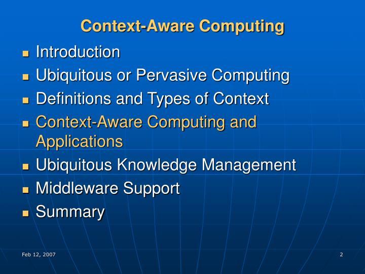 Context-Aware Computing