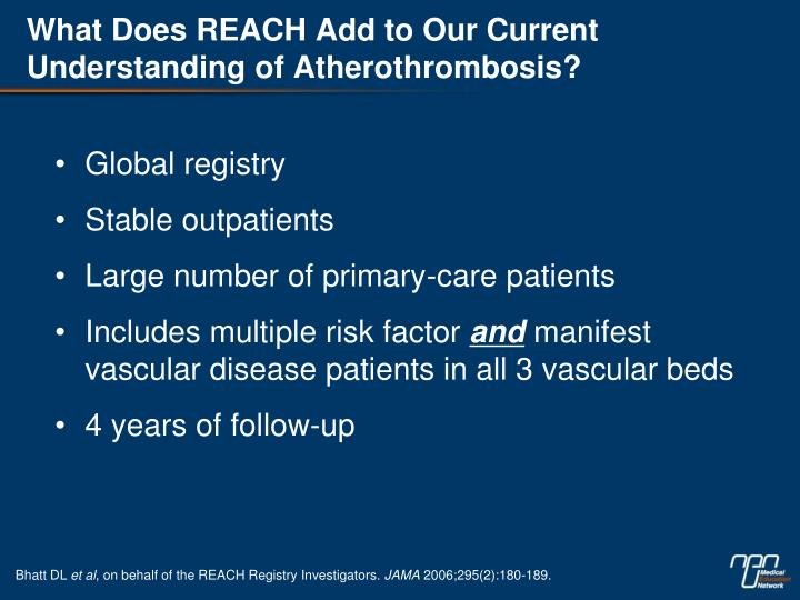 What Does REACH Add to Our Current Understanding of Atherothrombosis?